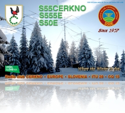 Radio club Cerkno Special event callsign QSL card