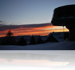 Sunset at the S50E radioclub station 1300 m asl SKI CENTER CERKNO best Slovenian ski resort 2011/12