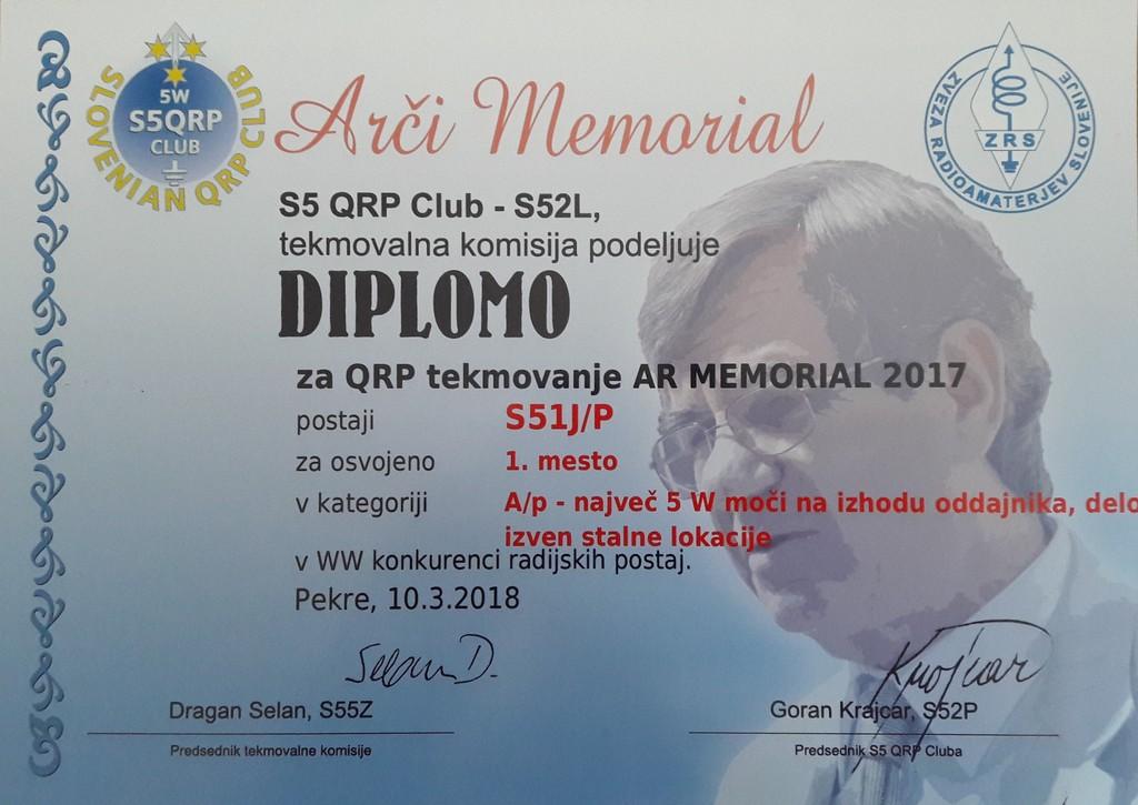Janez Majdič, S51J/p AR MEMORIAL 2017 1. mesto kategorija do 5W izven stalne lokacije