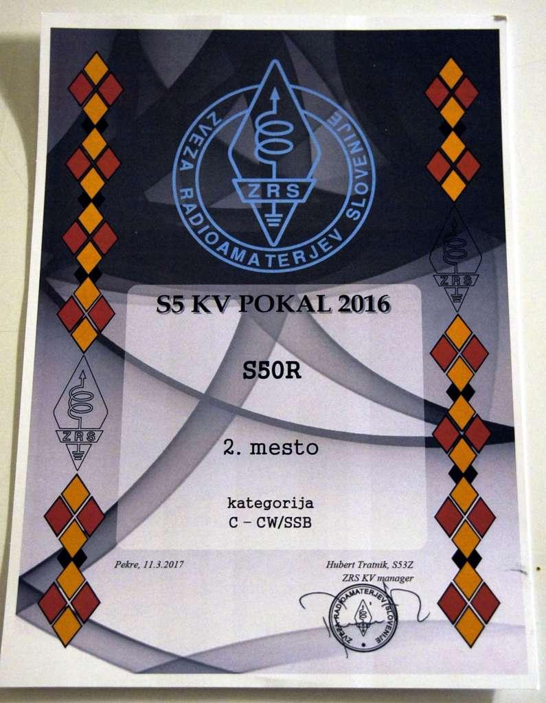 Leo Xhoko, S50R KV POKAL 2016 2. mesto kategorija C - CW/SSB