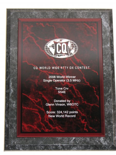 Tone Črv, S54E 2008 CQWW RTTY SOSB 3,5 MHz Word Record