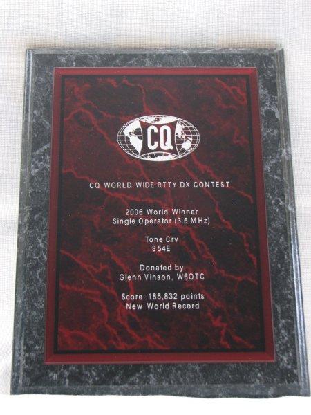 Tone Črv, S54E 2006 CQWW RTTY SOSB 3,5 MHz Word Record