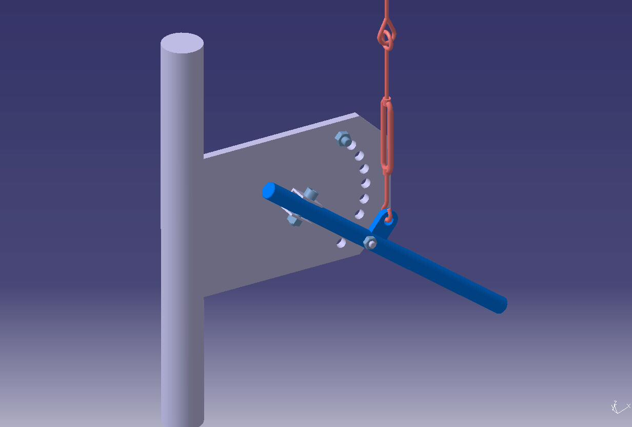 Antenna hand brake by S54E arm at tower basement, drawing