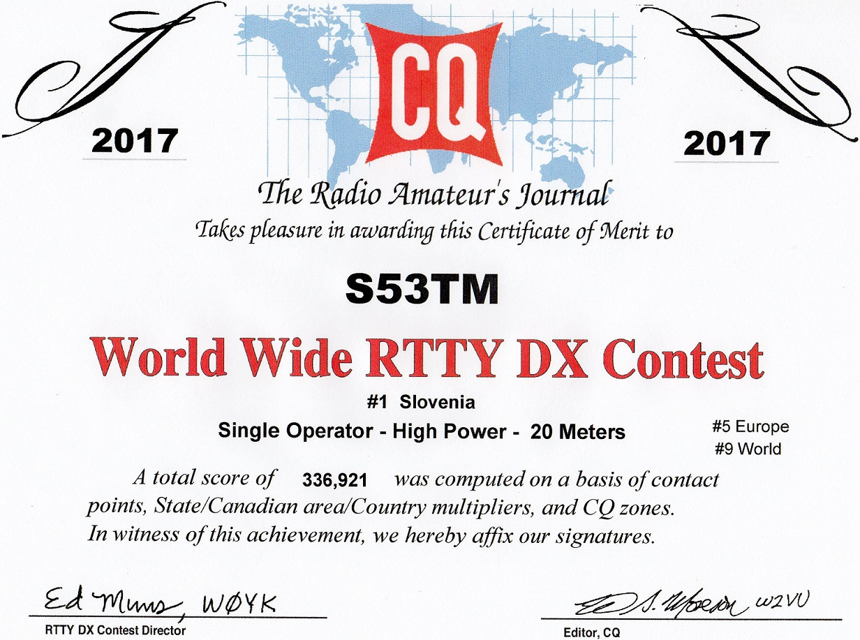 Tine S53TM WW RTTY DX Contest 2017 | Final result #1 S5, #5 EU, #9 WW