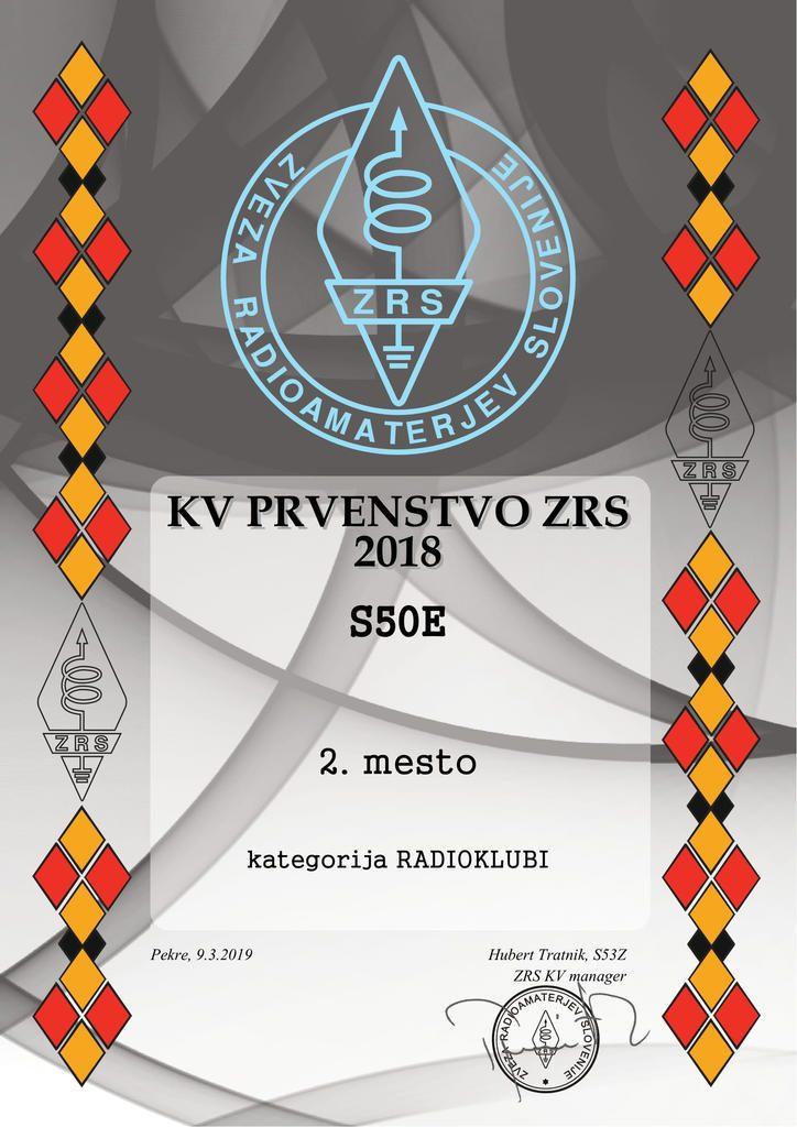 Radio klub Cerkno 2. mesto v KV PRVENSTVO ZRS 2018